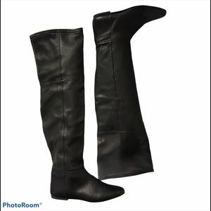 Zara Leather Over The Knee Black Boots Sz 9 Black